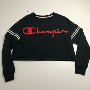 Champion Cropped Sweater Womens Large Black